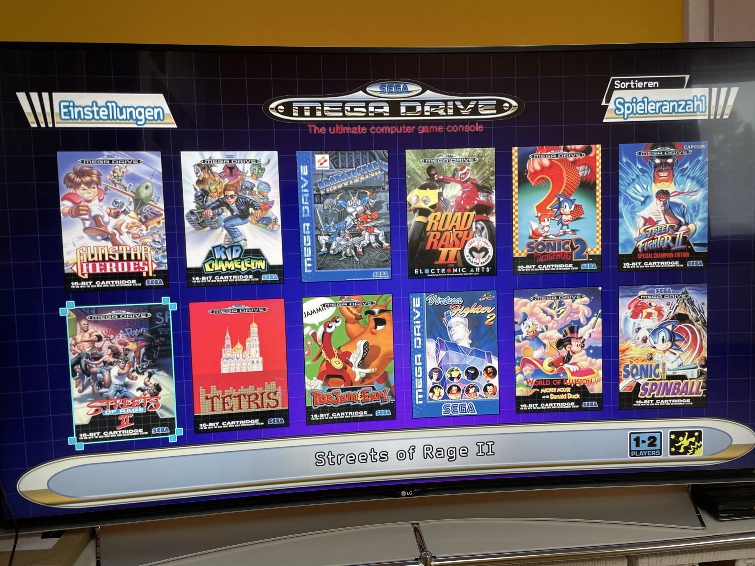 Sega Mega Drive Mini Games for 2 players
